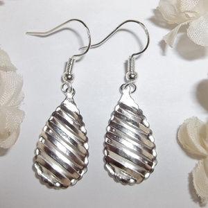 Silver Teardrop Earrings Dangle Drop Set Pair 1477